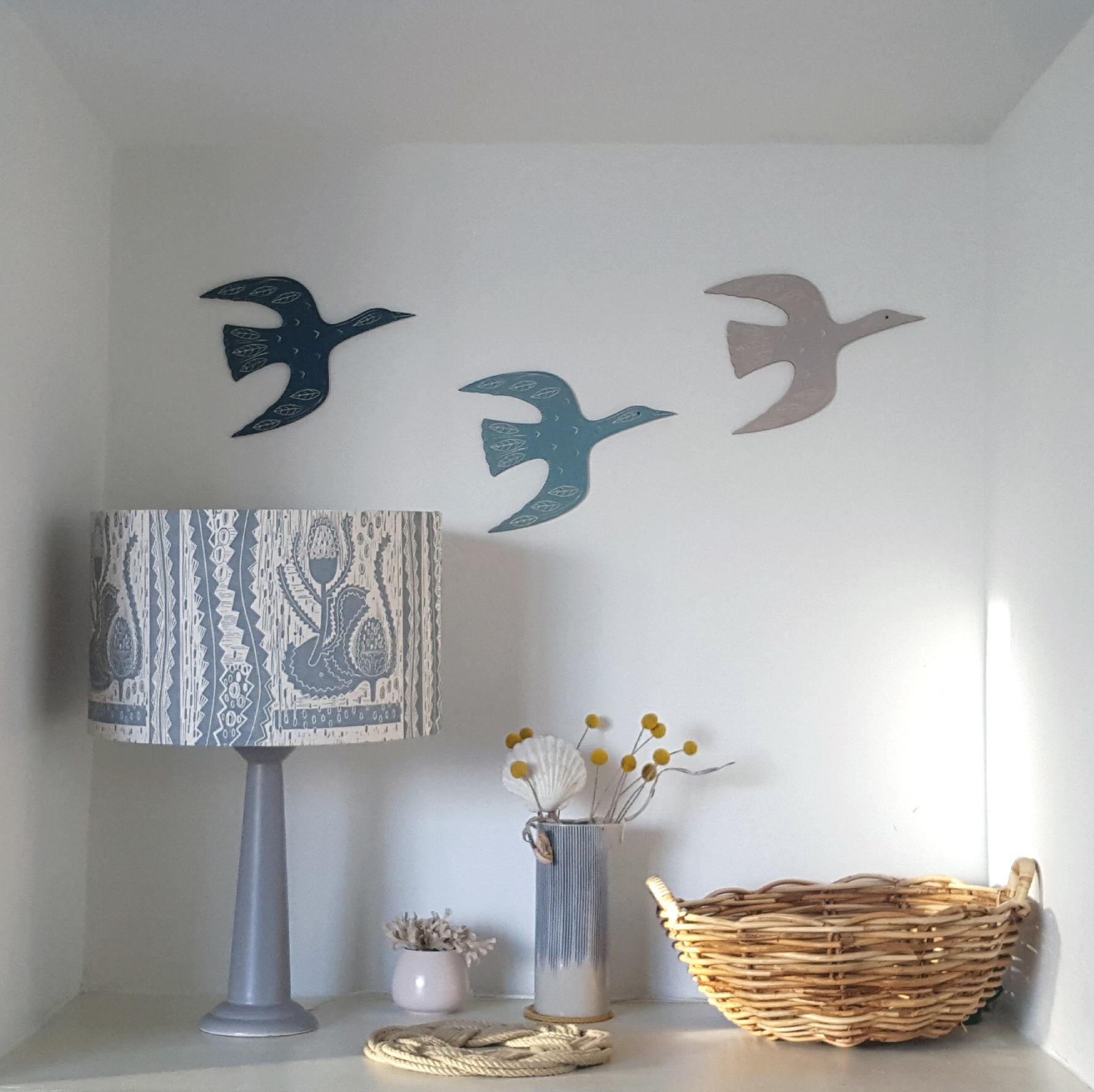 Screen printed flying geese